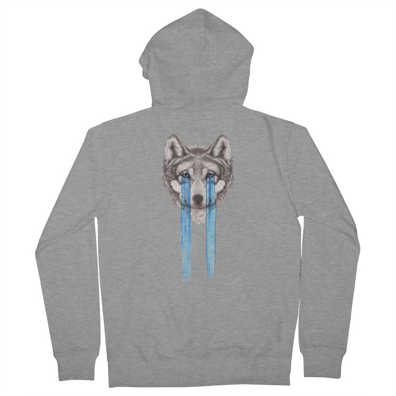 Don't Cry Wolf Men's French Terry Zip-Up Hoody by Luke Wisner