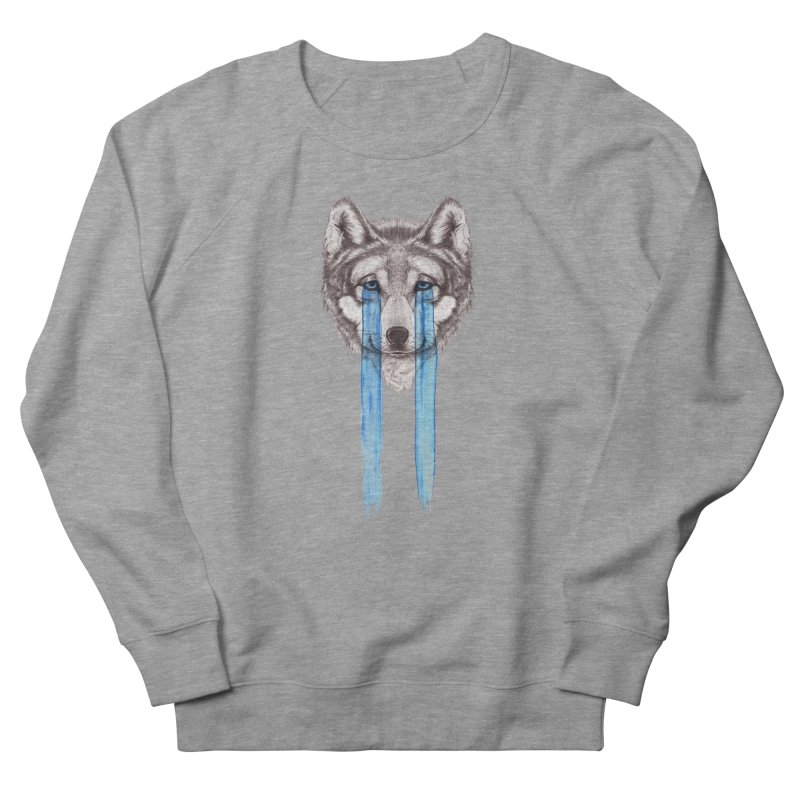 Don't Cry Wolf Women's French Terry Sweatshirt by Luke Wisner