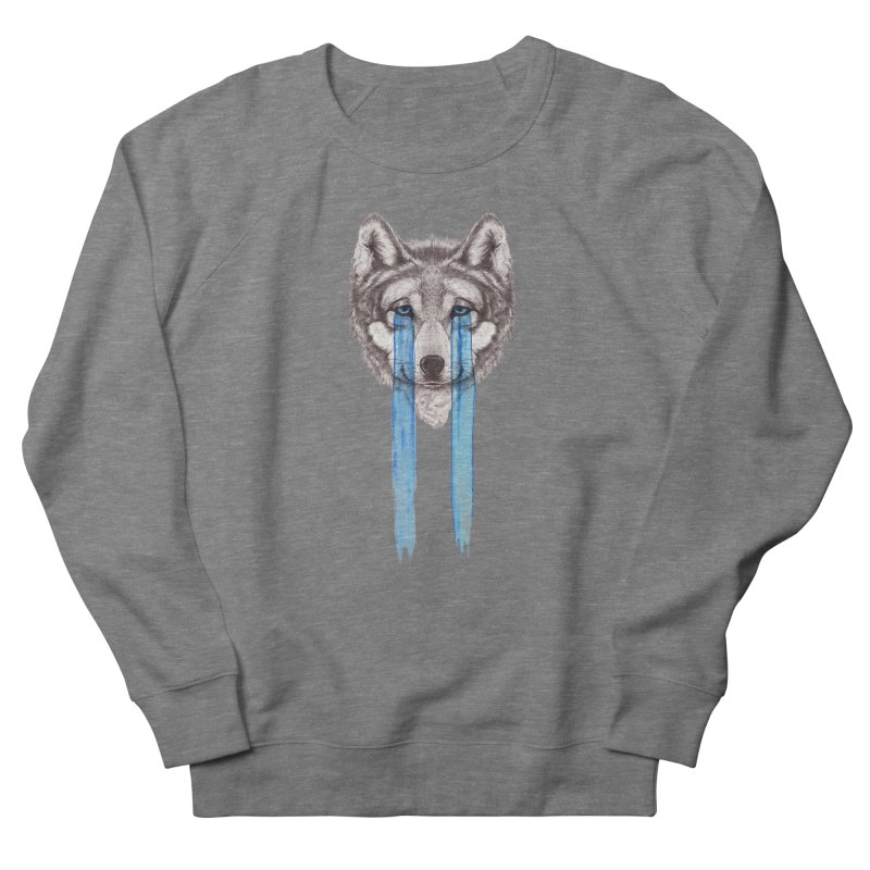Don't Cry Wolf Men's French Terry Sweatshirt by Luke Wisner