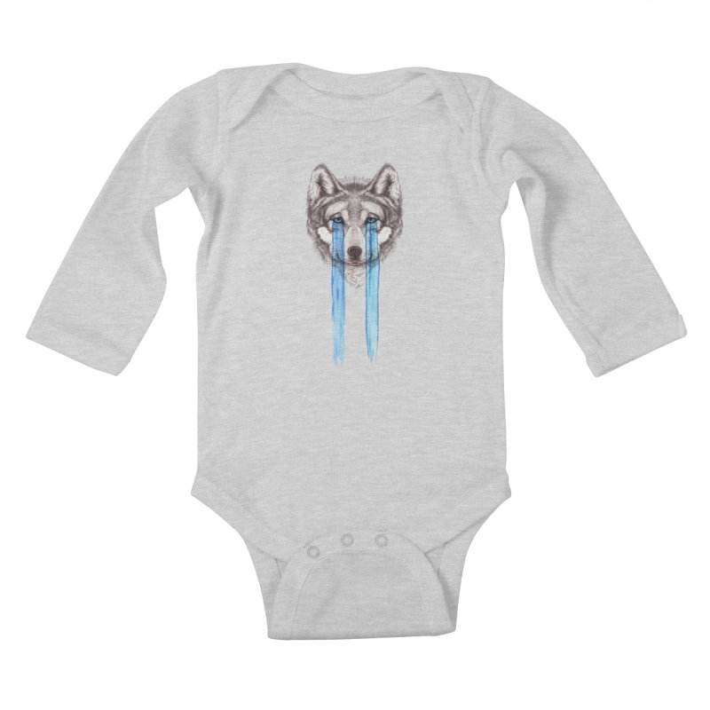 Don't Cry Wolf Kids Baby Longsleeve Bodysuit by Luke Wisner