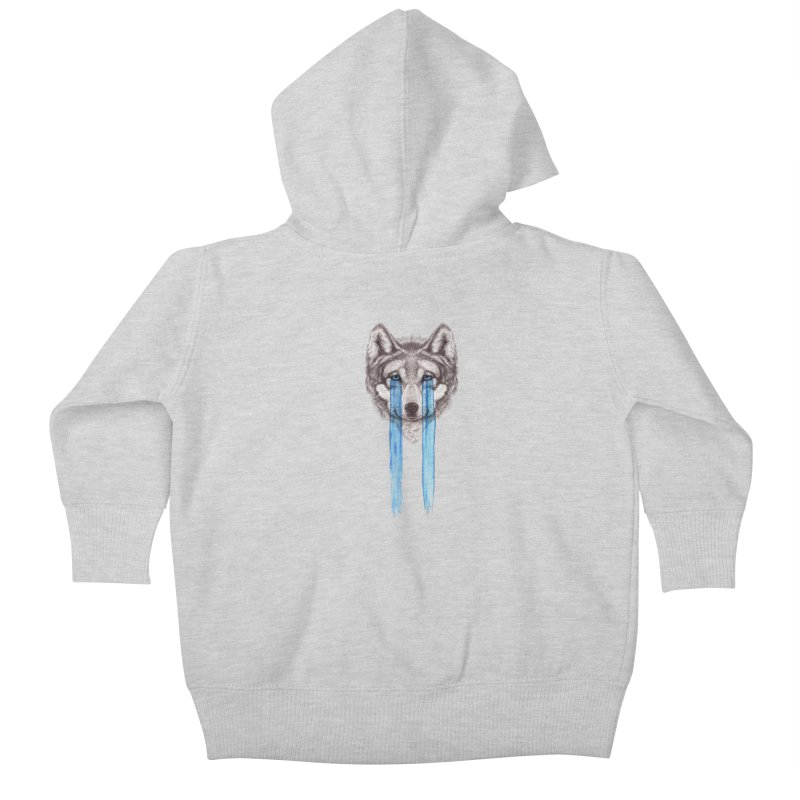 Don't Cry Wolf Kids Baby Zip-Up Hoody by Luke Wisner