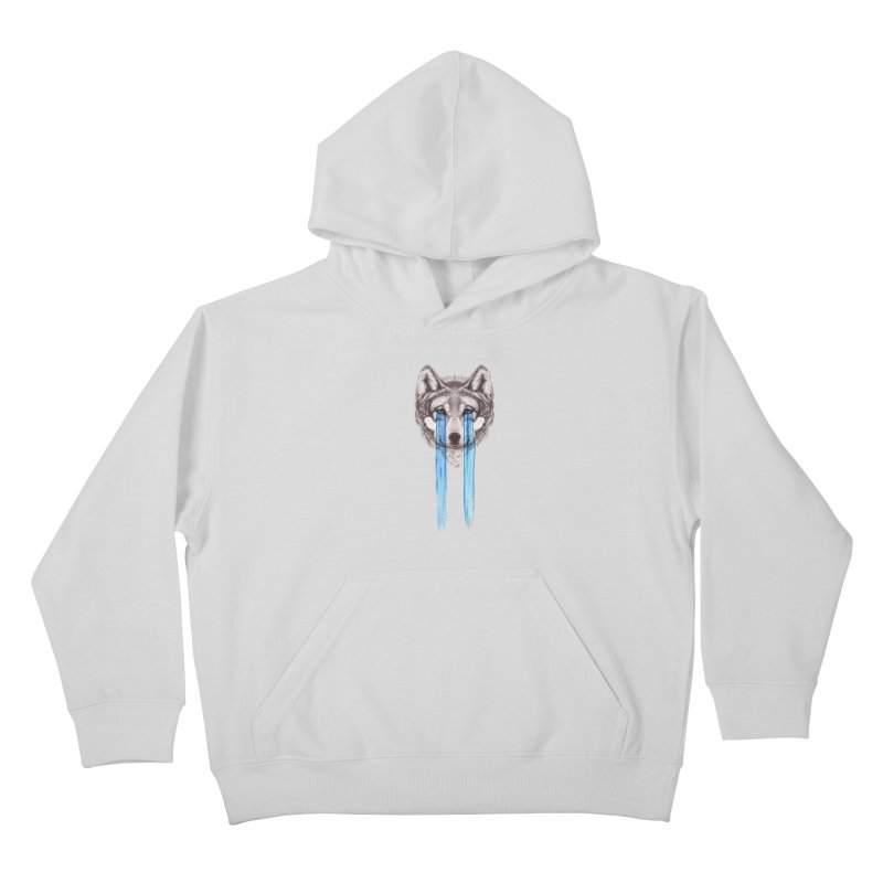 Don't Cry Wolf Kids Pullover Hoody by Luke Wisner