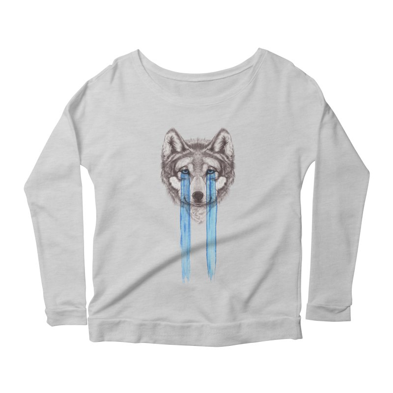 Don't Cry Wolf Women's Scoop Neck Longsleeve T-Shirt by Luke Wisner