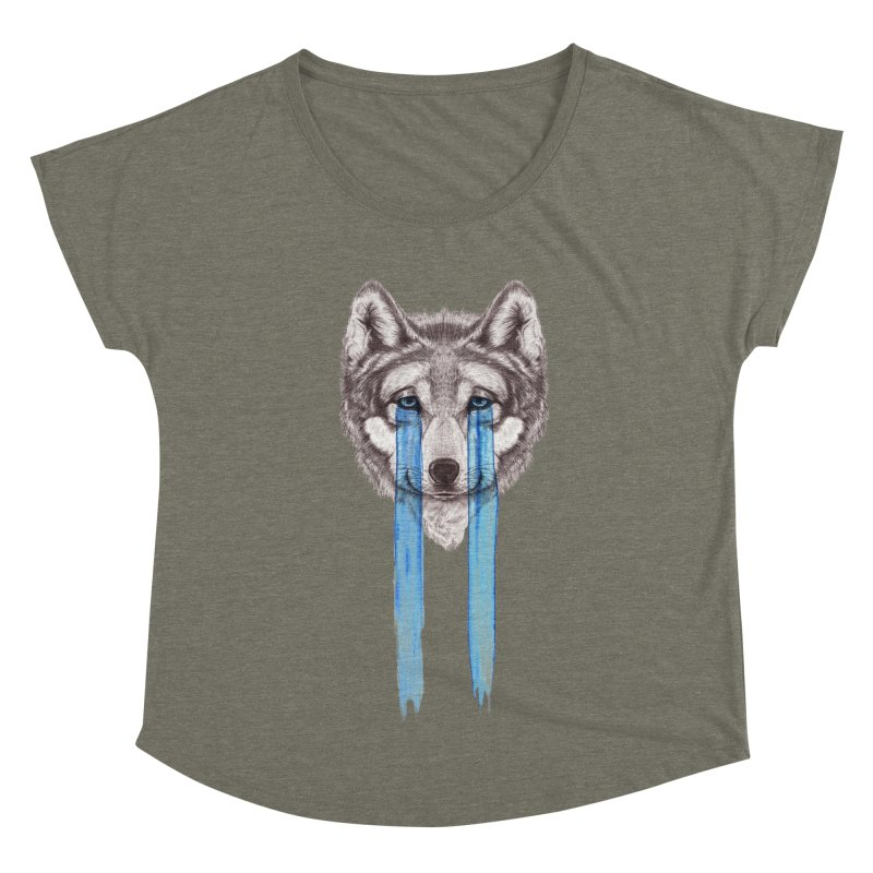 Don't Cry Wolf Women's Dolman Scoop Neck by Luke Wisner