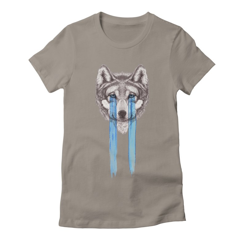 Don't Cry Wolf Women's Fitted T-Shirt by Luke Wisner