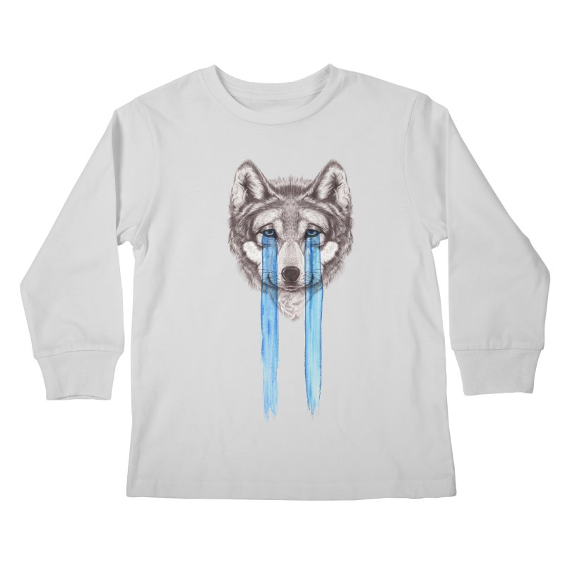 Don't Cry Wolf Kids Longsleeve T-Shirt by Luke Wisner
