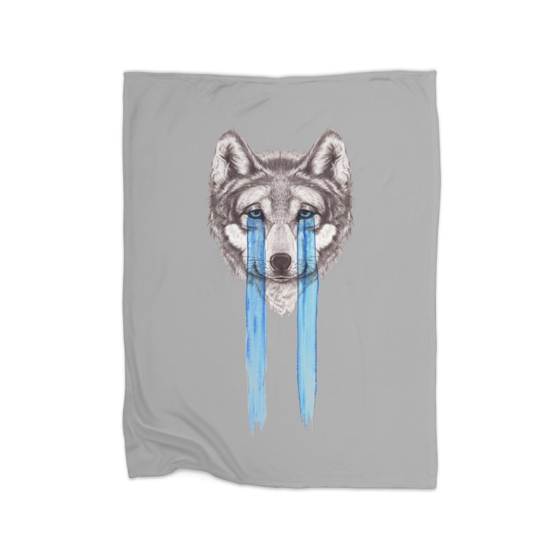 Don't Cry Wolf Home Fleece Blanket by Luke Wisner