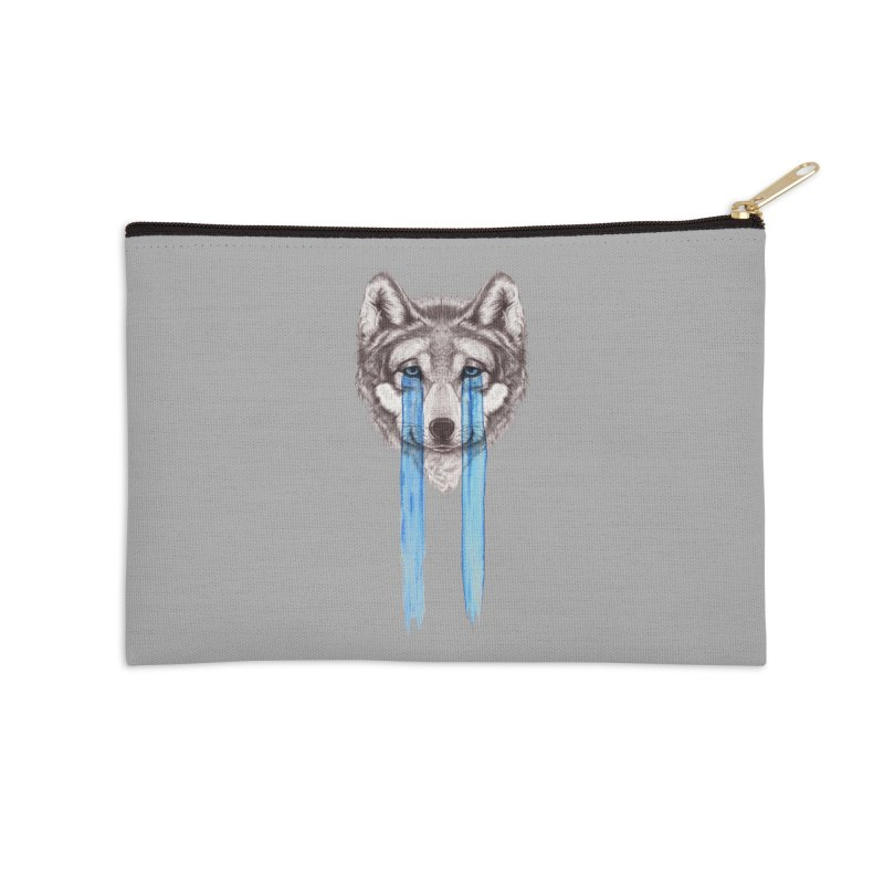Don't Cry Wolf Accessories Zip Pouch by Luke Wisner