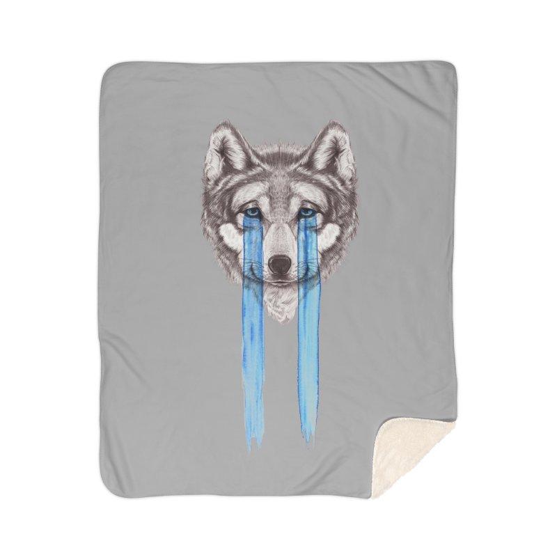Don't Cry Wolf Home Sherpa Blanket Blanket by Luke Wisner