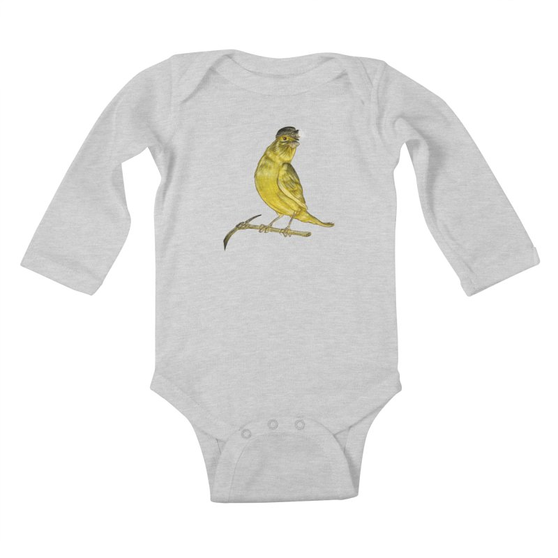Canary Coal Miner Kids Baby Longsleeve Bodysuit by Luke Wisner
