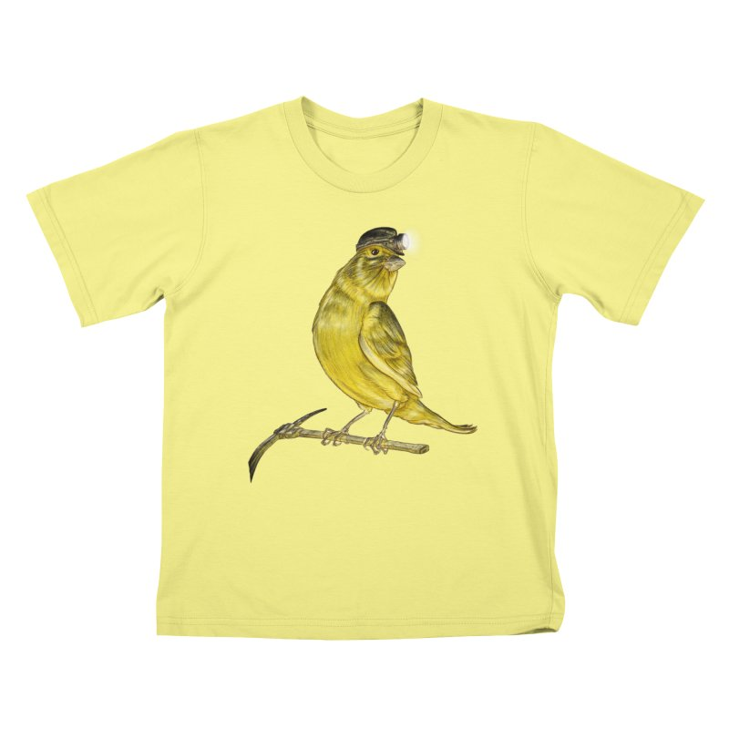 Canary Coal Miner Kids T-shirt by Luke Wisner