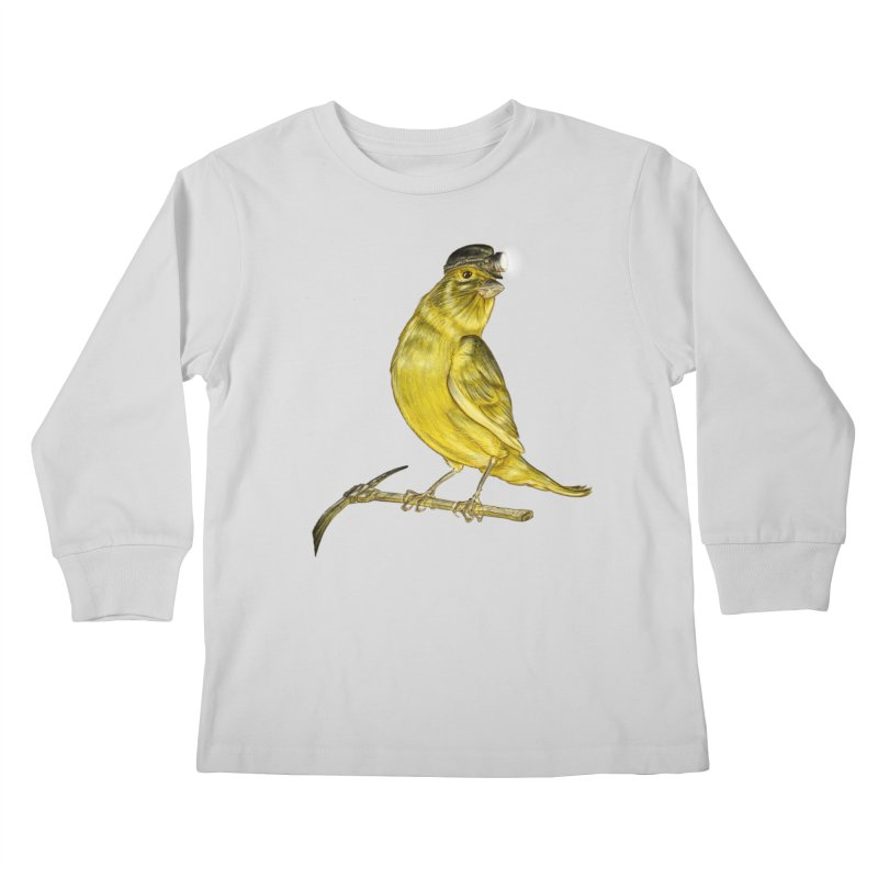 Canary Coal Miner Kids Longsleeve T-Shirt by Luke Wisner
