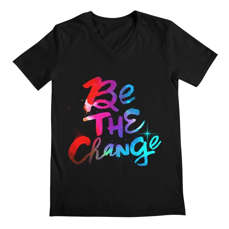 Be The Change Men's Regular V-Neck by Lumi
