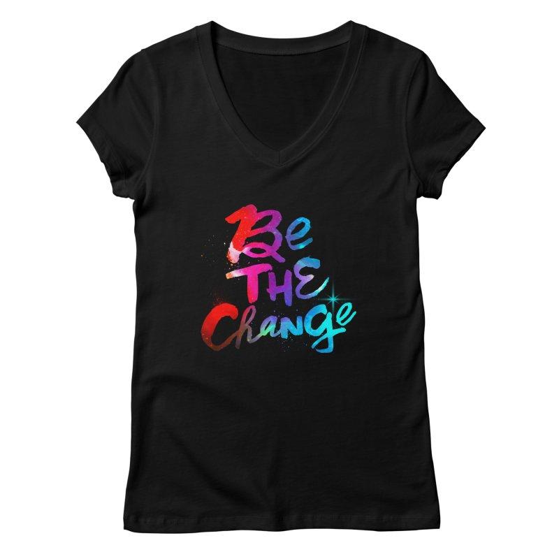 Be The Change Women's Regular V-Neck by Lumi