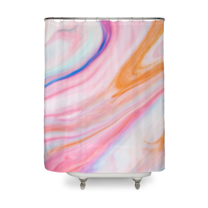 Rainbow Marble Home Shower Curtain by Lumi