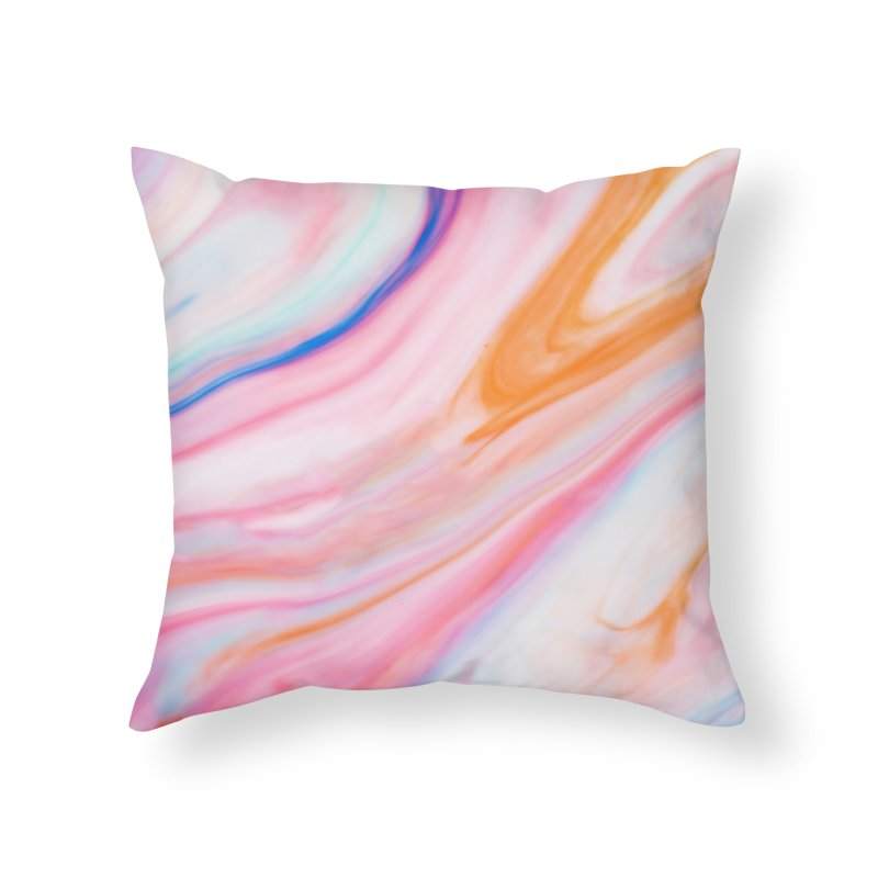 Rainbow Marble Home Throw Pillow by Lumi