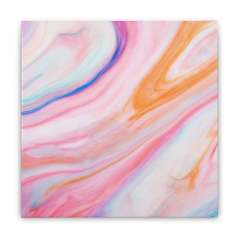 Rainbow Marble Home Stretched Canvas by Lumi