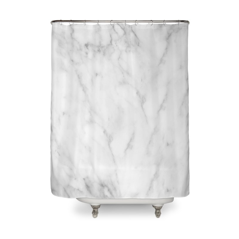 White Grey Marble Home Shower Curtain by Lumi