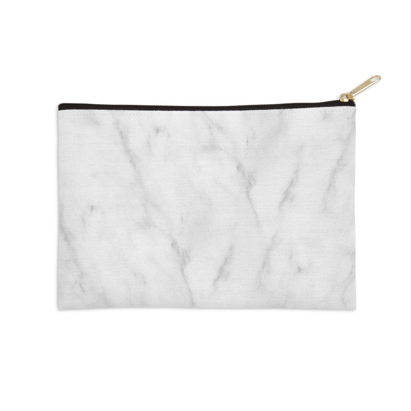 White Grey Marble Accessories Zip Pouch by Lumi