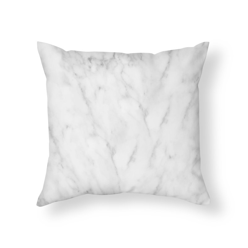 White Grey Marble Home Throw Pillow by Lumi