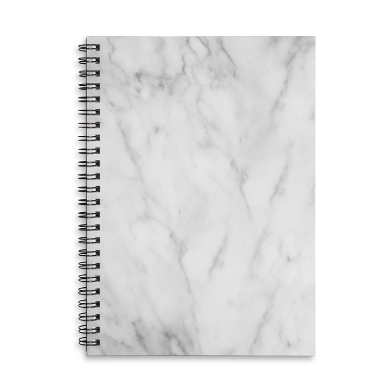 White Grey Marble Accessories Notebook by Lumi
