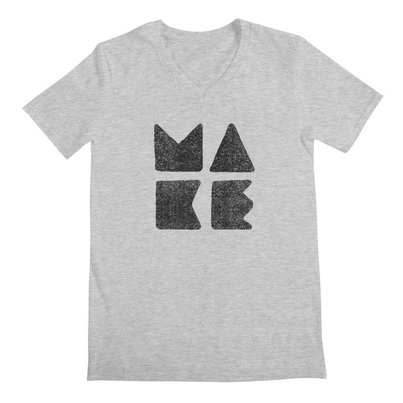 MAKE Men's Regular V-Neck by lunchboxbrain's Artist Shop