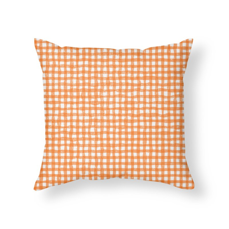 Gingham Patch Home Throw Pillow by lunchboxbrain's Artist Shop