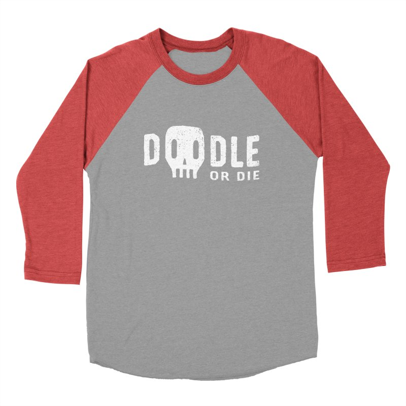 Doodle or Die Men's Baseball Triblend T-Shirt by lunchboxbrain's Artist Shop