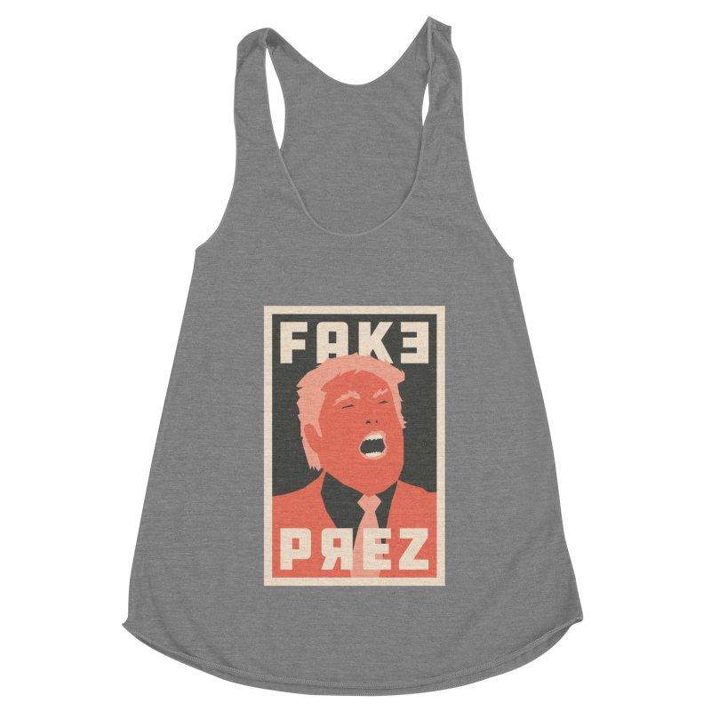 Fake Prez Women's Racerback Triblend Tank by lunchboxbrain's Artist Shop