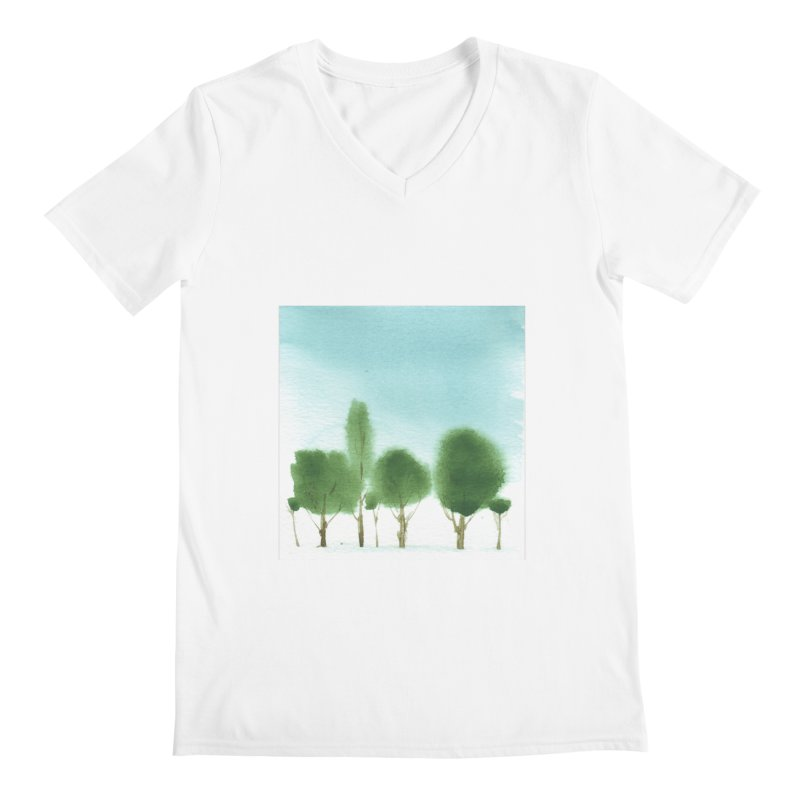 Forest 70p Men's V-Neck by Luskay Art Shop