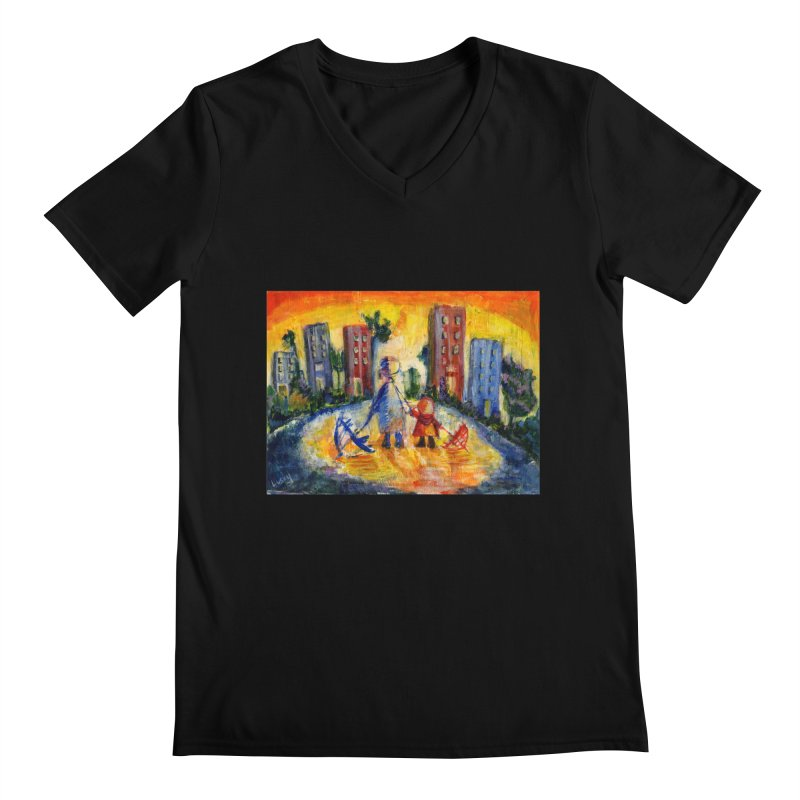 No Rain 70p Men's V-Neck by Luskay Art Shop