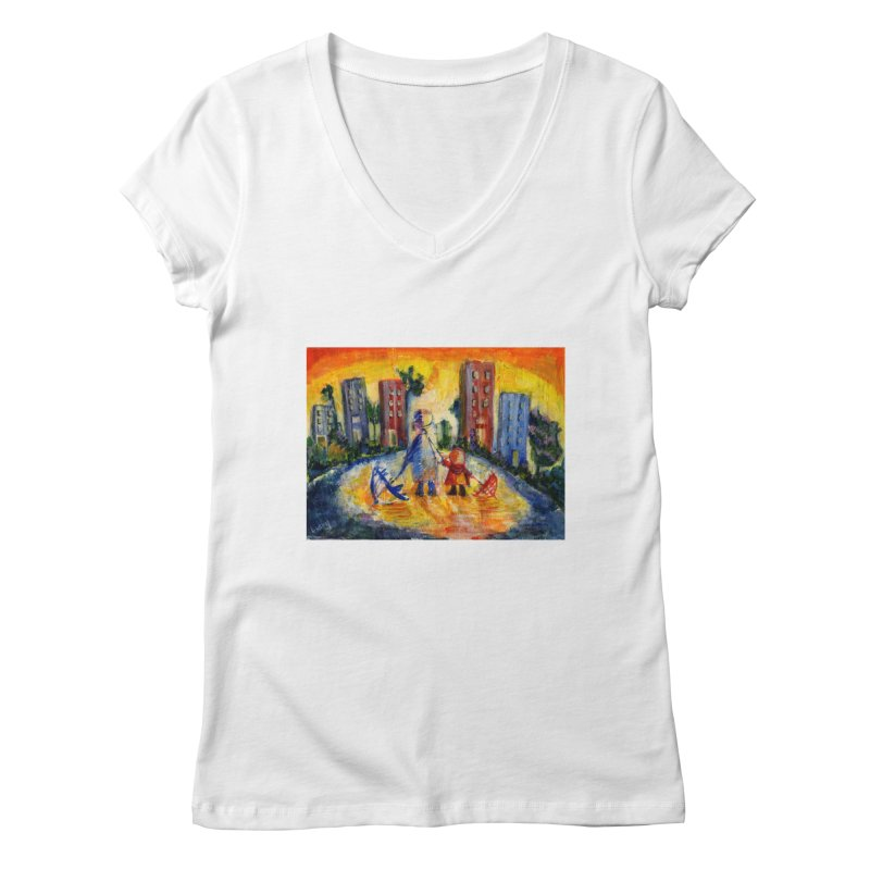 No Rain 70p Women's Regular V-Neck by Luskay Art Shop