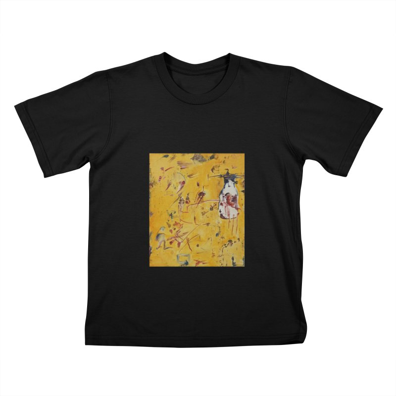 Milk Bottle in Kids T-shirt Black by Luskay Art Shop