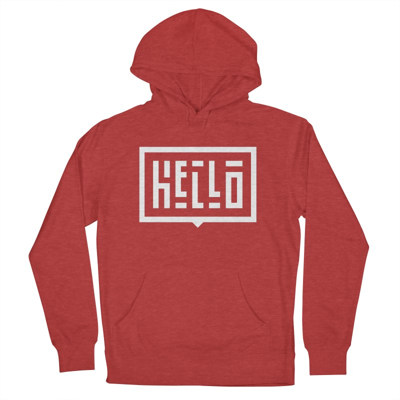 Hello WHT Women's French Terry Pullover Hoody by LVS360 Artist Shop