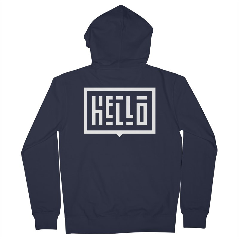 Hello WHT Women's French Terry Zip-Up Hoody by LVS360 Artist Shop