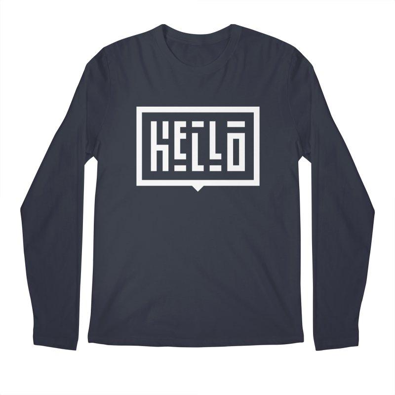 Hello WHT Men's Regular Longsleeve T-Shirt by LVS360 Artist Shop