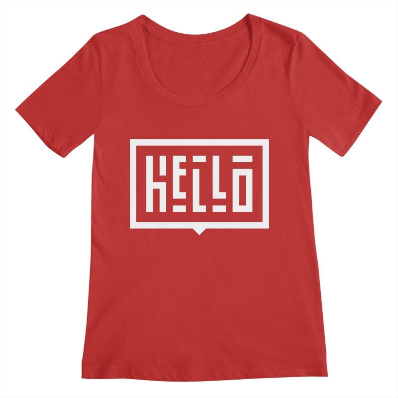 Hello WHT Women's Regular Scoop Neck by LVS360 Artist Shop