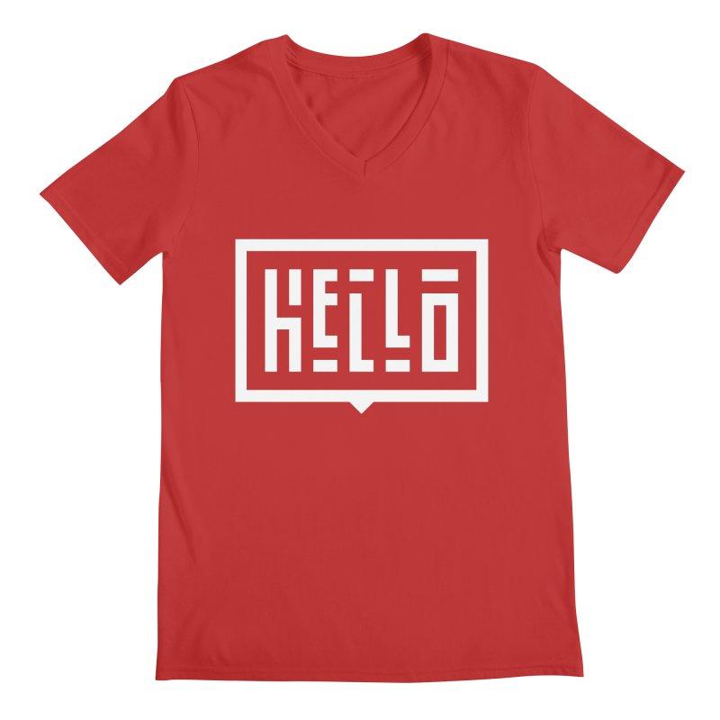 Hello WHT Men's Regular V-Neck by LVS360 Artist Shop