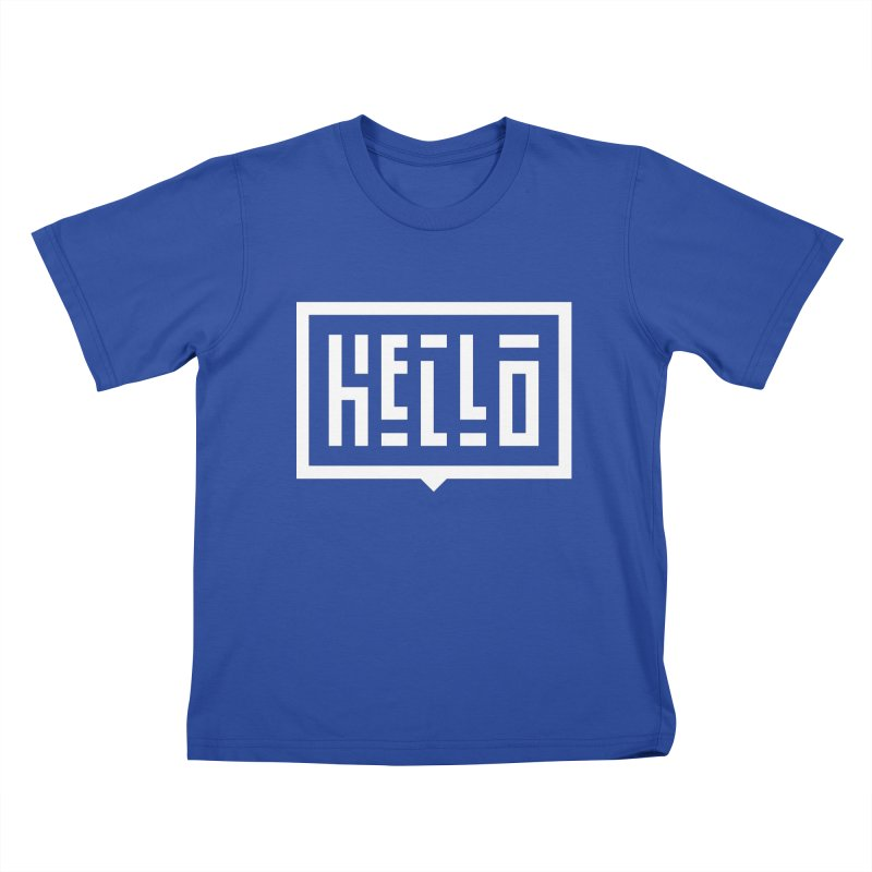 Hello WHT Kids T-Shirt by LVS360 Artist Shop