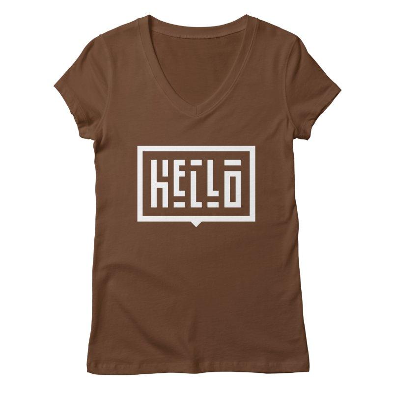 Hello WHT Women's Regular V-Neck by LVS360 Artist Shop