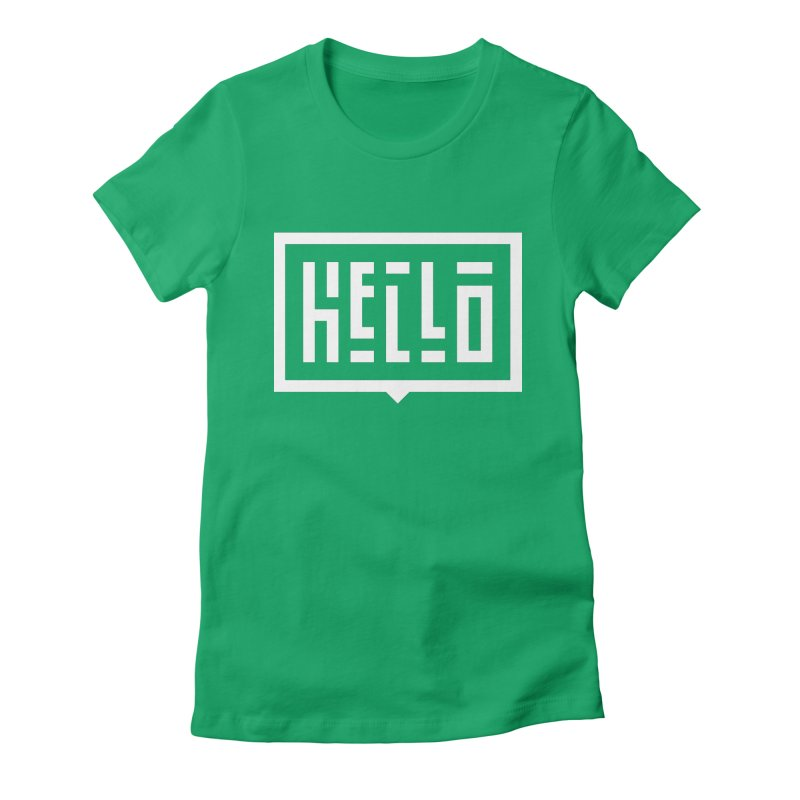 Hello WHT Women's Fitted T-Shirt by LVS360 Artist Shop