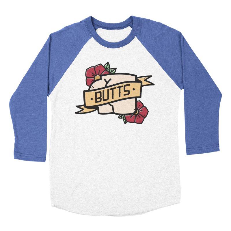 Butts Men's Baseball Triblend Longsleeve T-Shirt by Luis Romero Shop