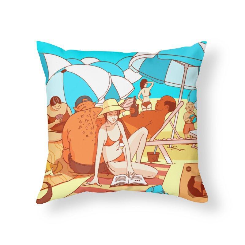 The Beach Home Throw Pillow by Katerina Lyadova   Art