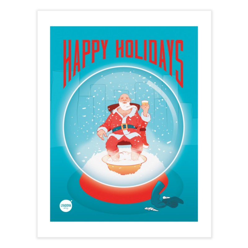 Santa in a Ball poster Home Fine Art Print by Katerina Lyadova | Art