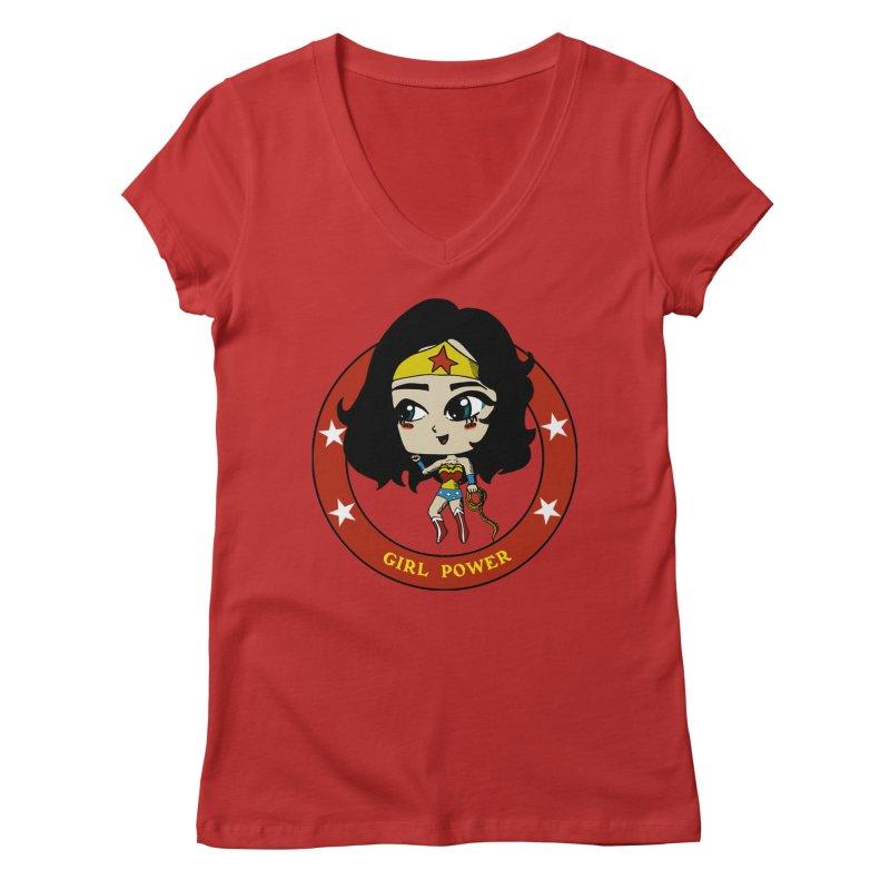 Girl Power! (Diana) Women's Regular V-Neck by LydiaJae's Artist Shop