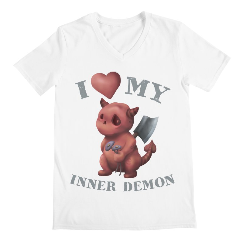 I Love My Inner Demon Men's Regular V-Neck by Lynell Ingram's Shop