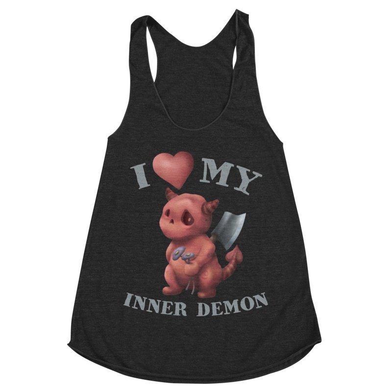 I Love My Inner Demon Women's Racerback Triblend Tank by Lynell Ingram's Shop