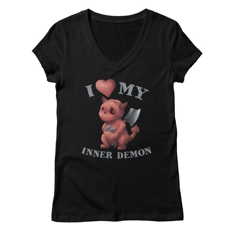 I Love My Inner Demon Women's Regular V-Neck by Lynell Ingram's Shop