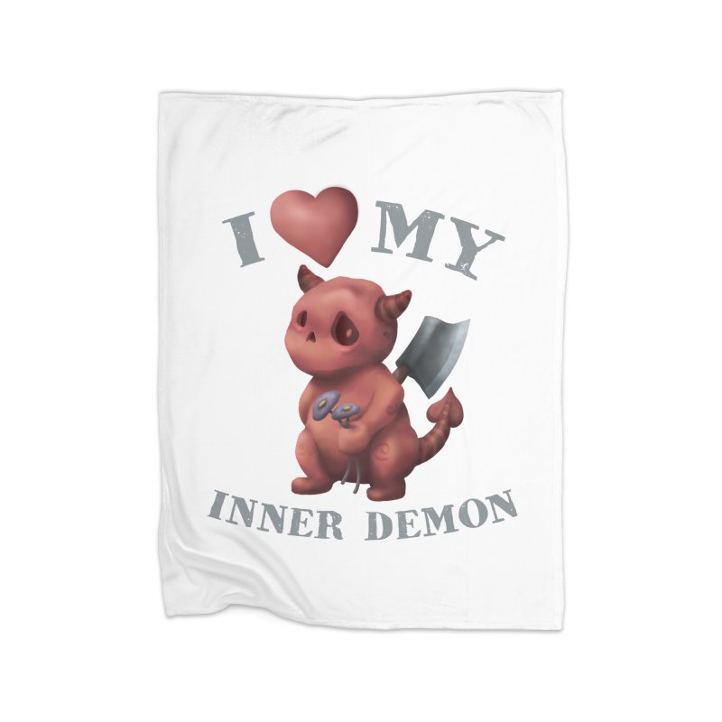 I Love My Inner Demon Home Fleece Blanket Blanket by Lynell Ingram's Shop