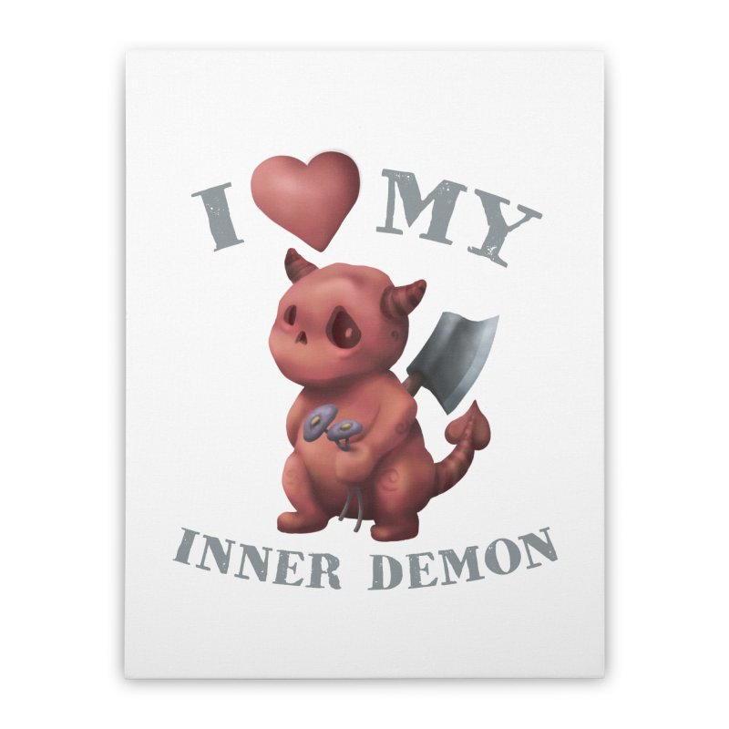 I Love My Inner Demon Home Stretched Canvas by Lynell Ingram's Shop